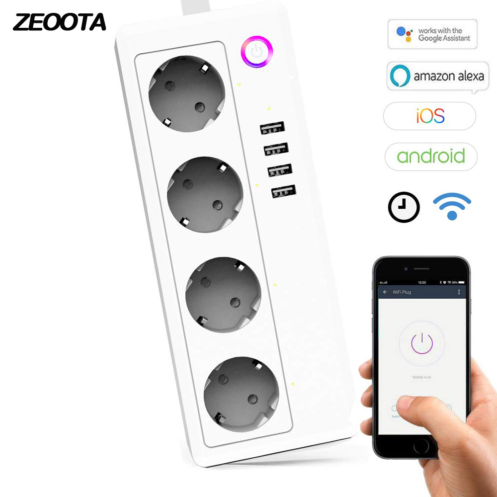 Wifi Smart Power Strip Surge Protector de 4 tomas de la UE enchufes USB Homekit adaptador con Amazon Alexa Google A casa