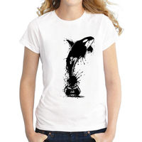 New Female T Shirt Vintage Ink Painting Whale Print Short Sleeve O Neck Summer Women Youth