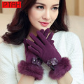 PTAH Winter Women Wool Gloves Rabbit Cashmere Wrist Solid Floral Bow Luva Outdoor Thickened Mittens Iglove Soft Guantes PT9820