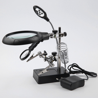 Magnifying Glass With Auxiliary Clip Repair Dedicated Desktop Magnifier With Led Light Helping Third Hand Soldering
