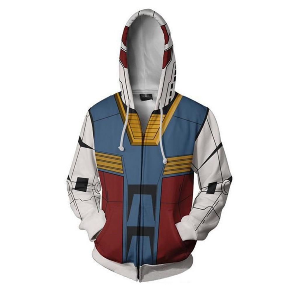 MOBILE SUIT GUNDAM Sweatshirts Cosplay 3D Printed Zip Sweatshirt Fashion Cartoon Hooded Jackets