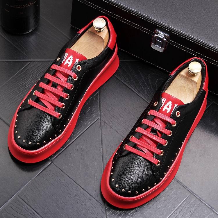 ERRFC Designer แฟชั่นบุรุษสีดำรองเท้าสบายๆรอบนิ้วเท้า Rivets Charm ใหม่ Arrivel สีขาวรองเท้าแพลตฟอร์มยอดนิยมรองเท้า-ใน รองเท้าลำลองของผู้ชาย จาก รองเท้า บน   3