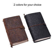 Antique Travel Journal Notebook Diary Leather Bound Refillable Daily Notepad Lined Blank Grid Paper for Sketching & Writing