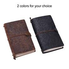 Cuaderno diario de viaje antiguo, libreta de notas diario recargable de cuero, papel de cuadrícula en blanco forrado para bocetos y escritura