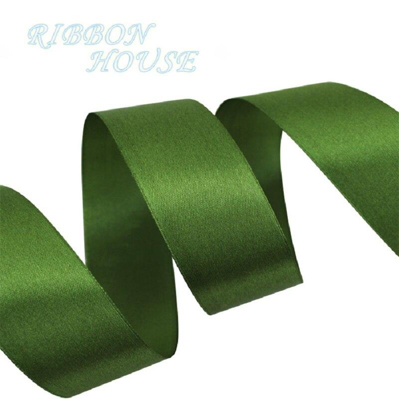 (Мм 25 ярдов/рулон) 40 мм оливково зеленый тесьма украшения ленты одного лица сатиновая подарочная лента Рождество ленты