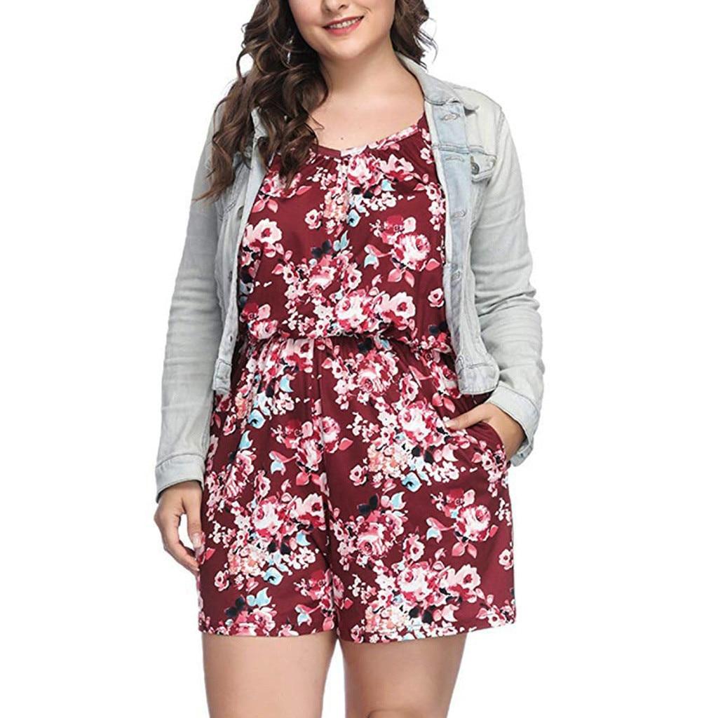Floral Print High Waist Spaghetti straps short   Jumpsuit   Women summer Fashion Bodysuit V-Neck Off Shoulder Romper Plus Size 5XL