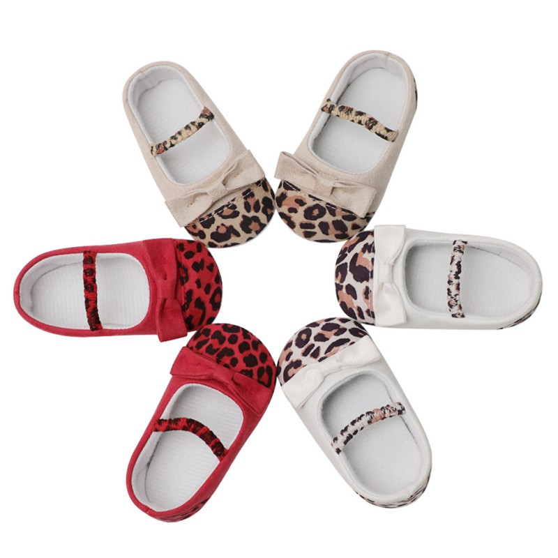 2018 Summer First Walker Baby Girls Princess Shoes Newborn Leopard Bow-knot Toddler Shoes Newly Fashion For 6-18M