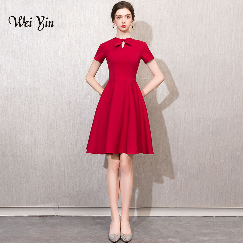 weiyin short   cocktail     dress   short sleeves above knee length bow   dress   black lace sheath zipper up   cocktail   party   dresses   WY750