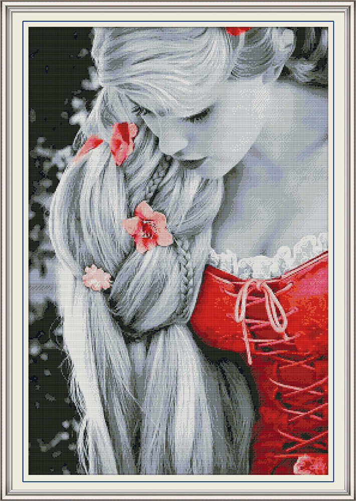 Long hair Princess cross stitch kit aida 14ct 11ct count print canvas cross  stitching kits needlework embroidery DIY handmade