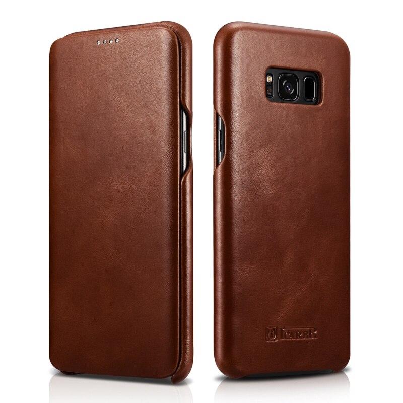 imágenes para Bolsa de coque Para la Galaxia caja del teléfono S8 más G955 ICARER Borde Curvo de Cáscara Del Teléfono Móvil de Cuero Genuino de la Vendimia marrón