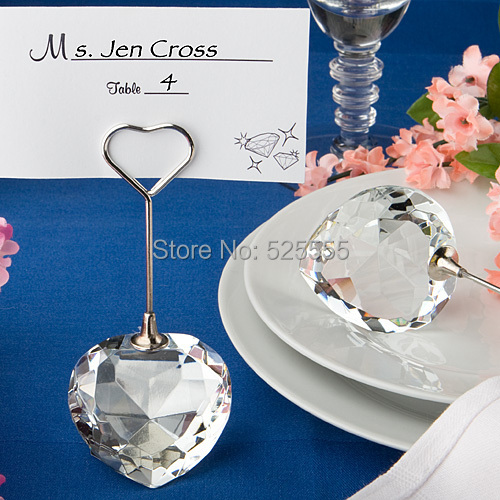 product Free shipping 50 pcs/lot grace design crystal heart card holder for wedding tabel decoration