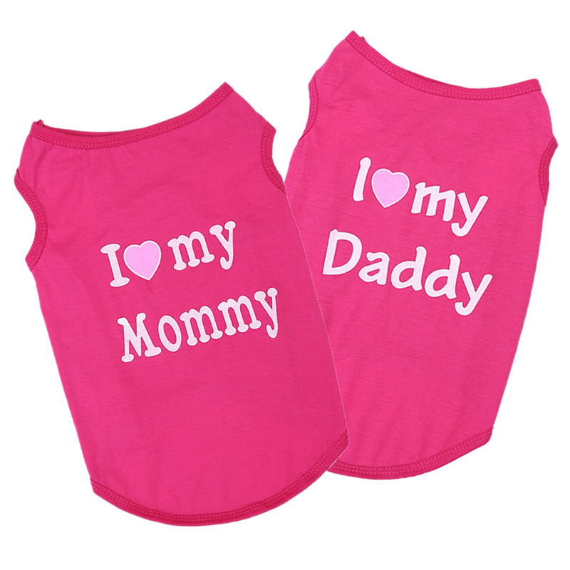 Cute Cotton I LOVE MY Mommy Daddy Cat Clothes  My Pet World Store