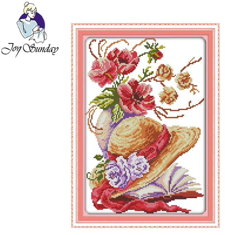 Joy Sunday Poppy flower hat cross stitch embroidery set printing cloth embroidery kit needlework Flowers picture cross stitch in Package from Home Garden
