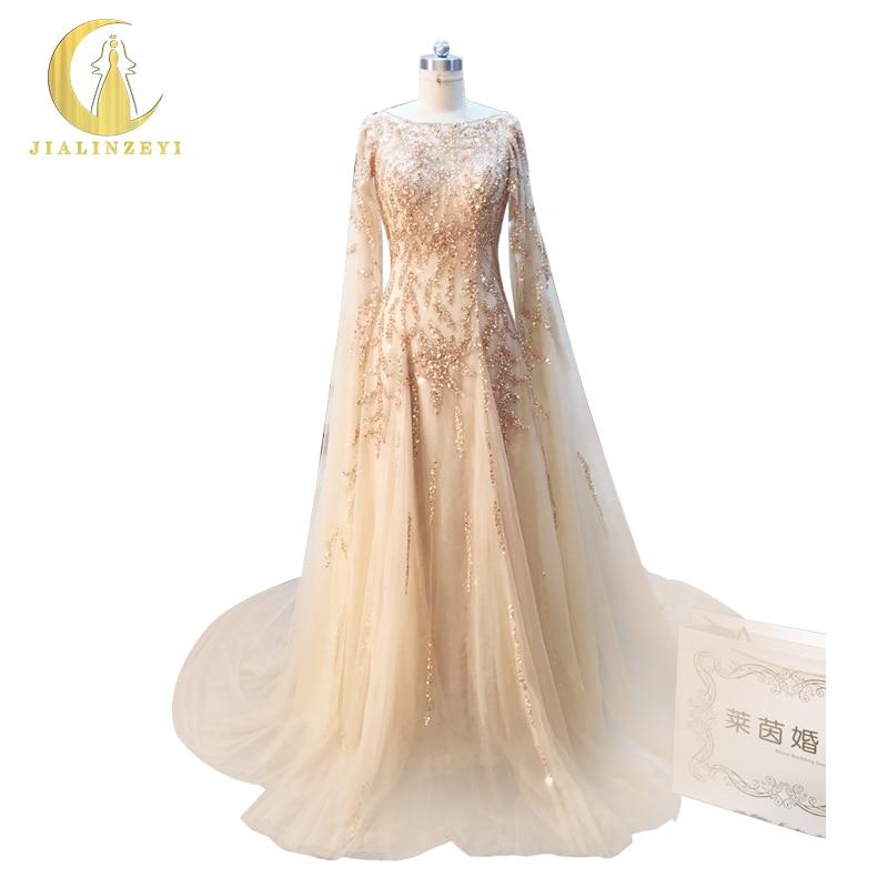 Reno Reale Del Campione Immagine Champagne e Oro Che Borda manteau Queen di Lusso papelaria Del Partito di Sera vestido de noiva AJ007