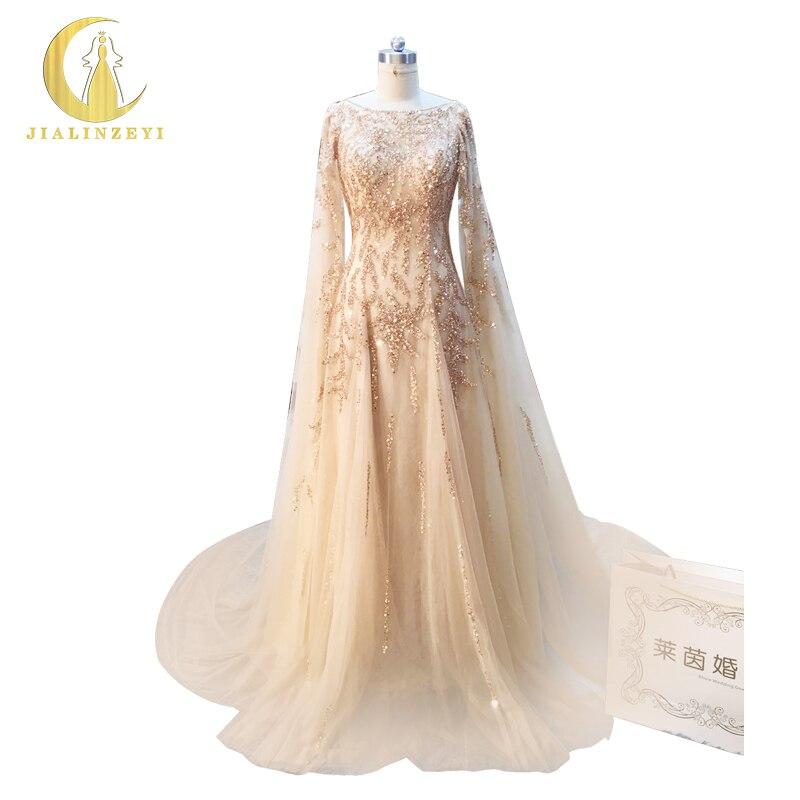 Rhin Real Sample Image Champagne et Or Perles manteau Reine Luxueux papelaria Partie de Soirée robe de noiva AJ007