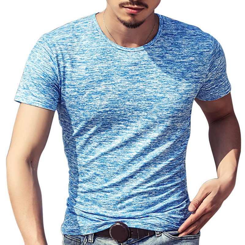 Fashion Pria Kaos Musim Panas Olahraga Top Top Tees Pria Pakaian Lengan Pendek Kasual O Leher Kapas Pusat Tshirt Pakaian Olah Raga