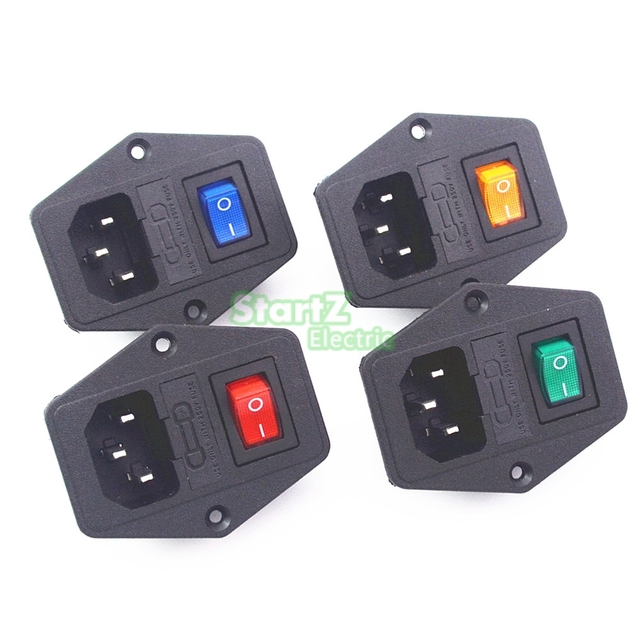 Hot 10A 250V Inlet Module Plug Fuse Switch Male Power Socket 3 Pin IEC320 C14 New