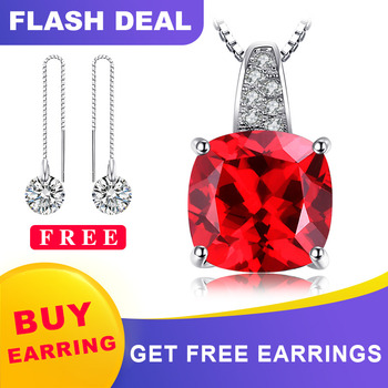 JewelryPalace Cushion 4.9ct Created Red Ruby 925 Sterling Silver Solitaire Pendant Women Engagement Wedding Jewelry No Chain