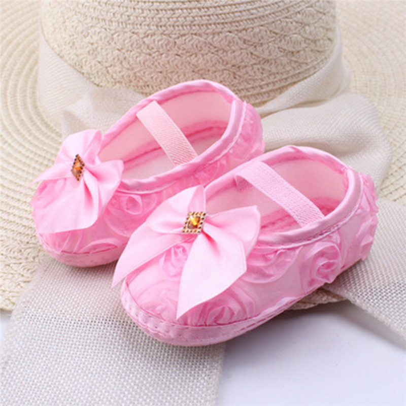 Cute Newborn Infant Baby Girl Princess Lace Flower Soled Soft Bowknot Crib Shoes