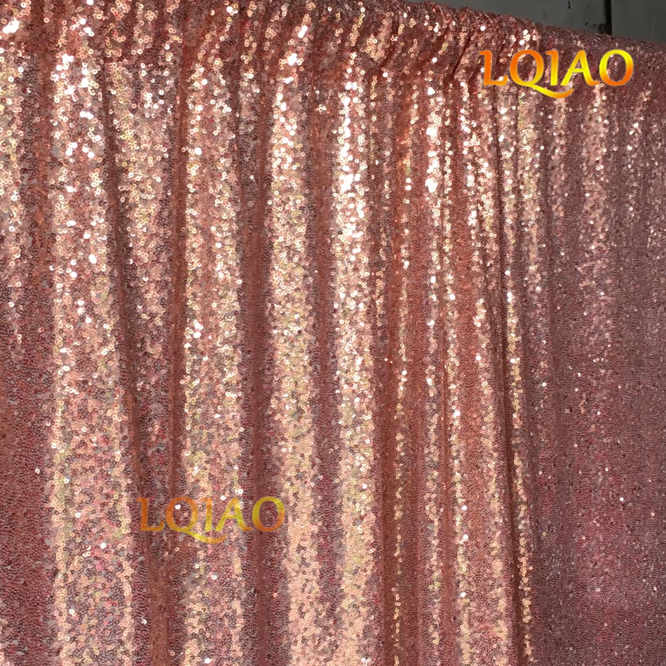 e25c9f78 LQIAO 10FTX10FT Sequin Curtain Backdrop,Rose Gold Shimmer Sequin Fabric  Background,Photography Curtains for
