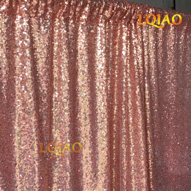 LQIAO 10FTX10FT Sequin Curtain BackdropRose Gold Shimmer Fabric BackgroundPhotography Curtains For