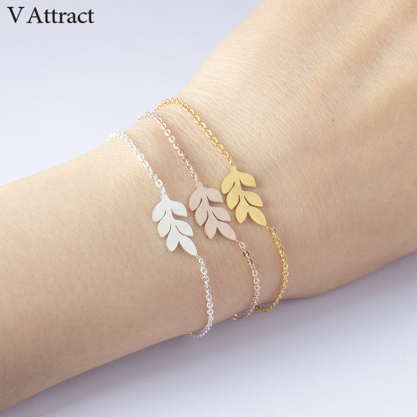 V Attract Boho Jewelry Stainless Steel Chian Simple Leaf Statement Bracelet Femme Rose Gold Ketting Friendship Pulsera Climbers