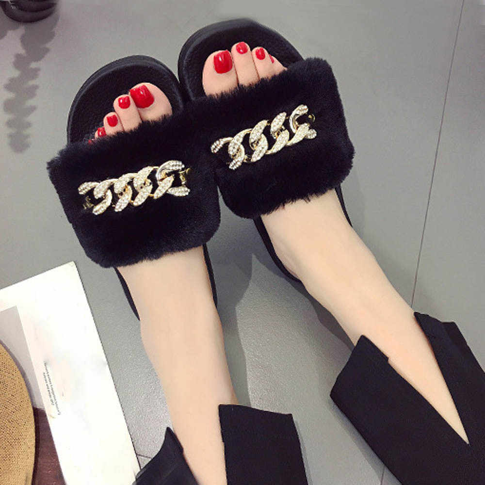 SAGACE נעלי כפכפים קיץ גבירותיי להחליק על גולשים פלאפי פו פרווה שטוח כישלון להעיף נעל סנדל נעליים יומיומיות נשים 2018JU11