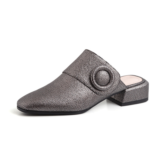 Kcenid 2021 New Vintage Square Toe Mules Womens Slippers