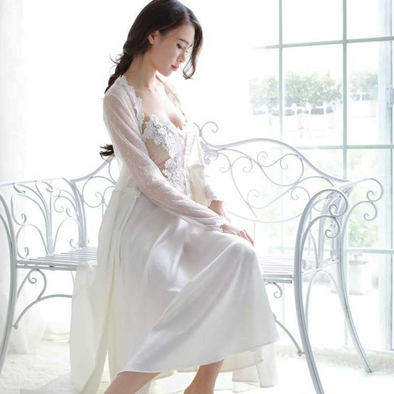 511476226fc ... Smmoloa Женская кружевная ночная рубашка халат пижамы наборы сексуальная  прозрачная Пижама пижамы новые