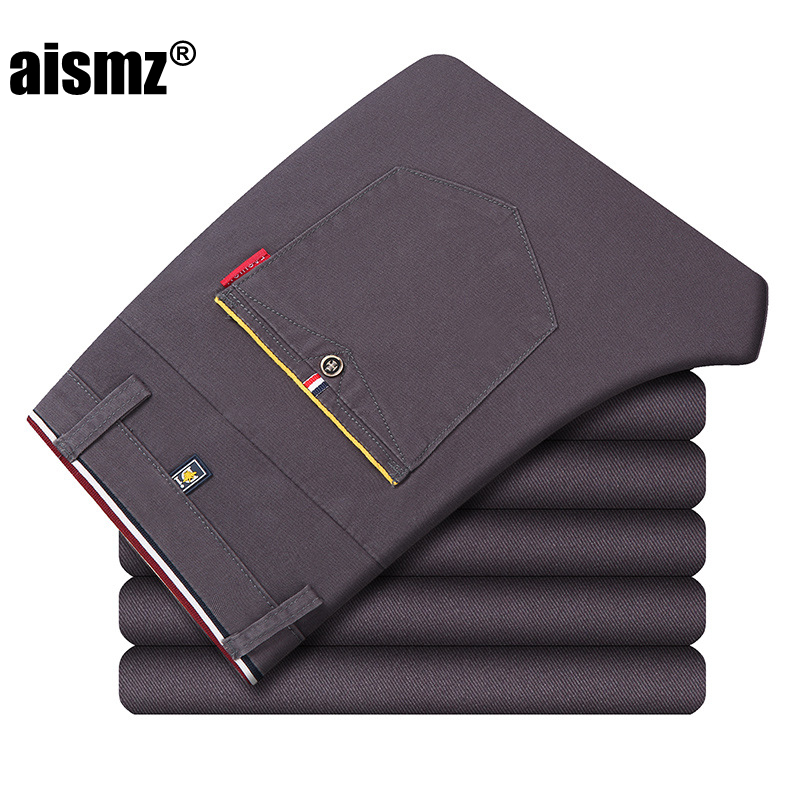 Aismz new fashion Mens Casual Pants high quality Brand Work Pants male Clothing Cotton Formal Trousers men size 36 38