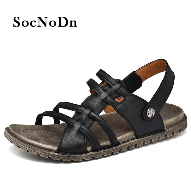 146ed11c02c9 SocNoDn Men s Sandals Genuine Leather 2018 Summer Fashion Gladiator Style  Casual Walking Footwear Man Retro Sandals Breathable