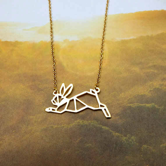 Grosir Trendy Menjalankan Kelinci Kalung Wanita Pernyataan Kalung Perhiasan Hewan Peliharaan Origami Kolye Cs Pergi Collares
