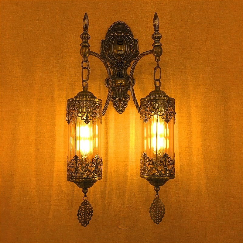 New Mediterranean style Art Deco Turkish Double Heads Wall Lamp Handcrafted Through Carved Glass romantic wall