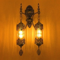 Новый Средиземноморский стиль арт деко турецкий Двойные головки настенный светильник ручной работы через резное стекло Романтический нас