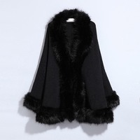 Casual Fake Fur Cape Overcoat Winter 2019 Batwing Sleeve Faux Fox Fur Collar Elegant Gothic Black Fashion Cardigan Coat Ponchos