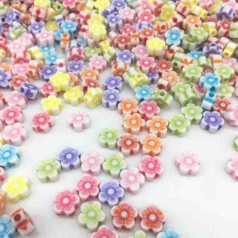 DIY 100pcs/Lot 8*4mm New Cheap Colorful Flowers Shape Acrylic Bead Fit For Bracelet Jewelry Making Wholesale Random Send Goods