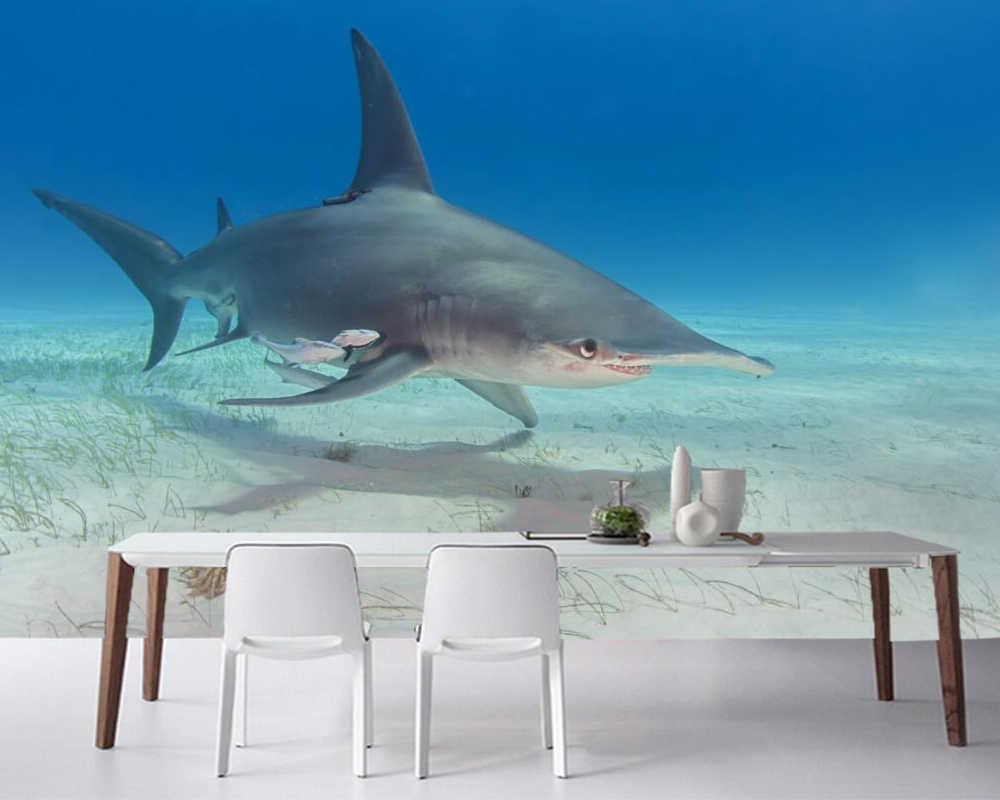 Papelデparede水中世界サメ動物壁紙 レストランのリビングルームバー