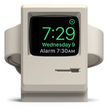 W3 Stand White Vintage Apple Monitor Supports Nightstand Mode Cable Management for Watch Series 1 2  and 3