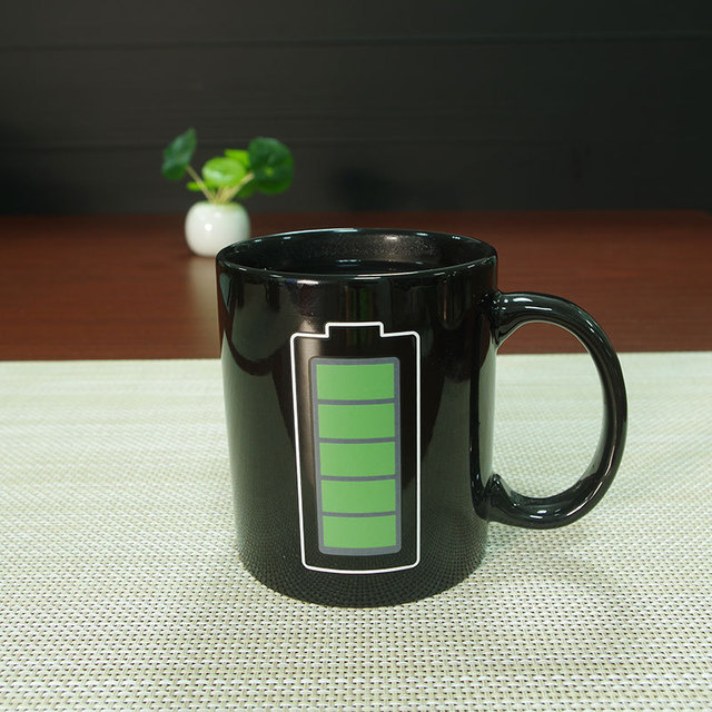 Creative Battery Magic Mug Positive Energy Color Changing Cup Ceramic Discoloration Coffee Tea Milk Mugs Novelty Gifts 2
