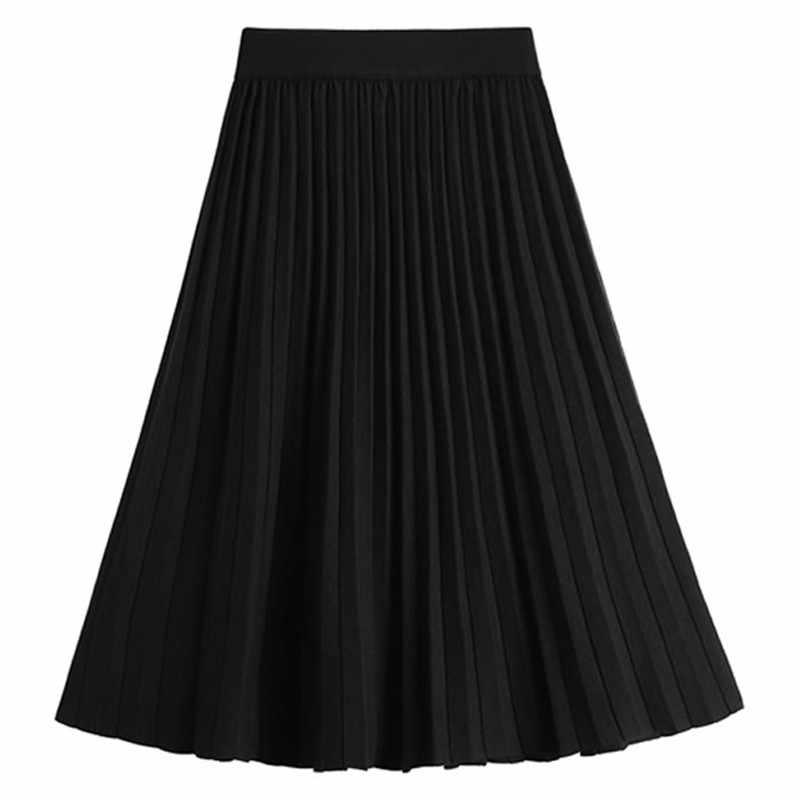 Colorfai 2019 Falda Midi de moda para mujer Otoño Invierno plisada de punto falda de línea a informal acampanada sólida para mujer SK8268