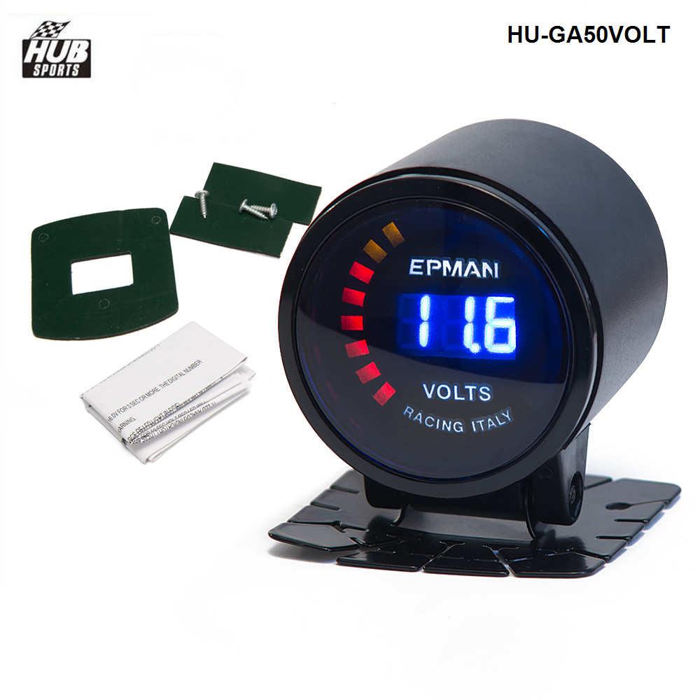 "52mm Volts Voltage Gauge 2/"" Epman Racing Smoked Digital Color Analog"