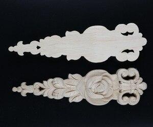 Image 2 - 2 cái/lô 19x5.5x1 cm Phong Cách Châu Âu Gỗ Đề Can Tủ Tủ Quần Áo Flower Bất Gỗ Trang Trí Nội Thất