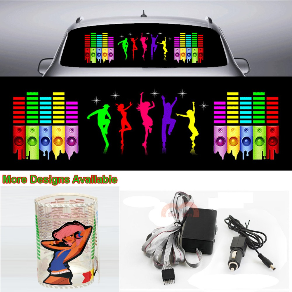 Hyun Dance Music Rhythm Car Sticker Flash Light Sound Activated Equalizer 90cm*25cm 35.4in*9.84in infant shining swing car mute flash belting leather music environmental quality children s toy car