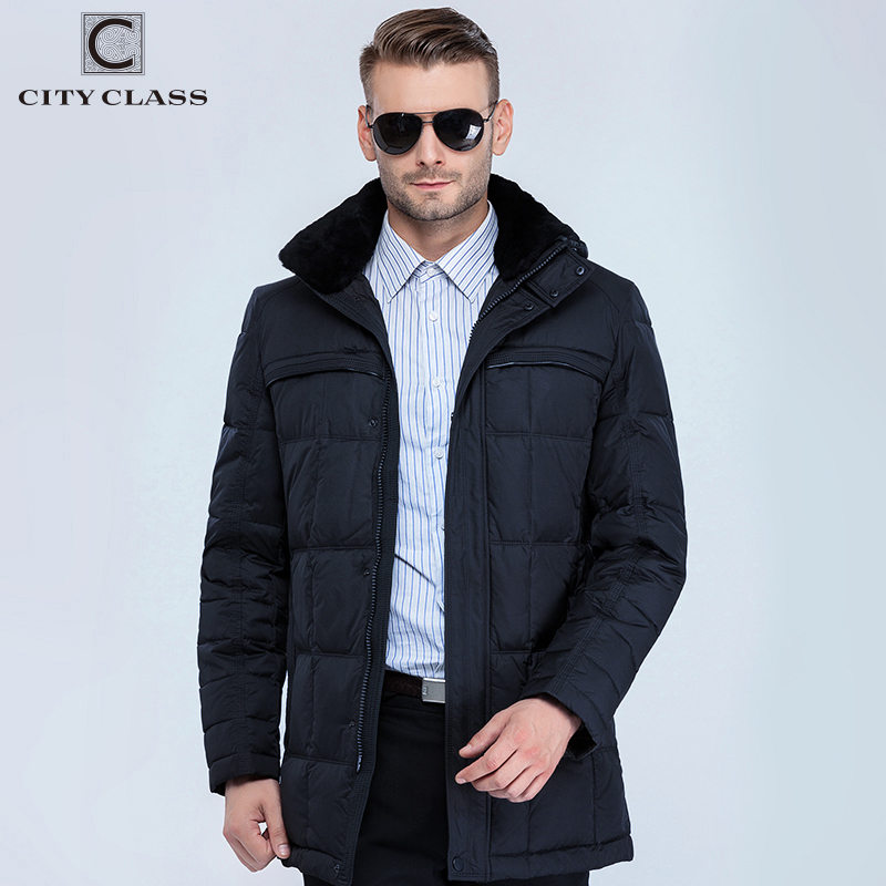 CITY CLASS New Men Fashion Jackets Coats Long Casual BioDown Removable Fake Fur Collar Men Winter Thick Warm Jacket Parkas 13291