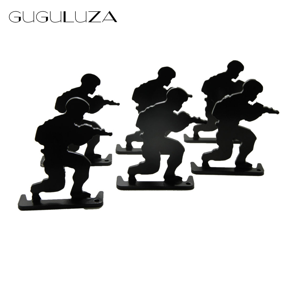 GUGULUZA 6pcs/lot Military Soldier Metal Targets Shooting Target Modle Black for Hunting Shooting Exercise Tactical Gun Target
