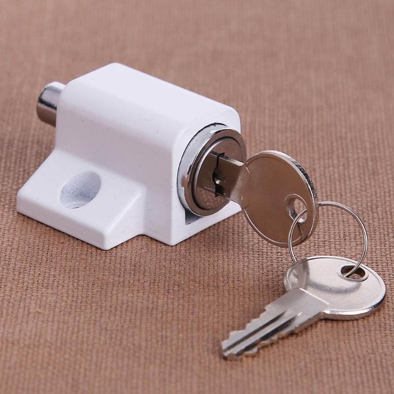 Anti-theft Durable Zinc Alloy Sliding Window Restrictor Lock Child Safety Sliding Window Restrictor Press Lock with 2 Keys