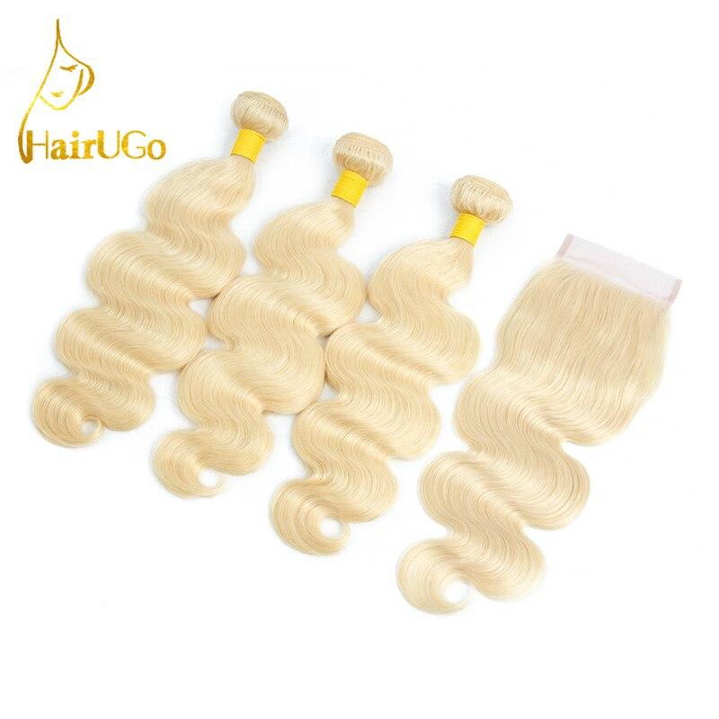 HairUGo волосы бразильский блондинка Цвет парик человеческих волос Связки расширением 3 Связки с 4*4 закрытия шнурка не remy волос #613