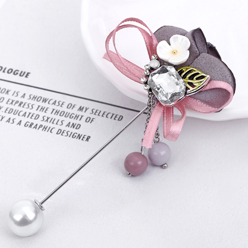 YAOLOGE Fashion Colorful Cloth Pins Rhinestone Brooch For Women Imitation Pearl Corsage Vintage Statement Jewelry Birthday Gifts in Brooches from Jewelry Accessories