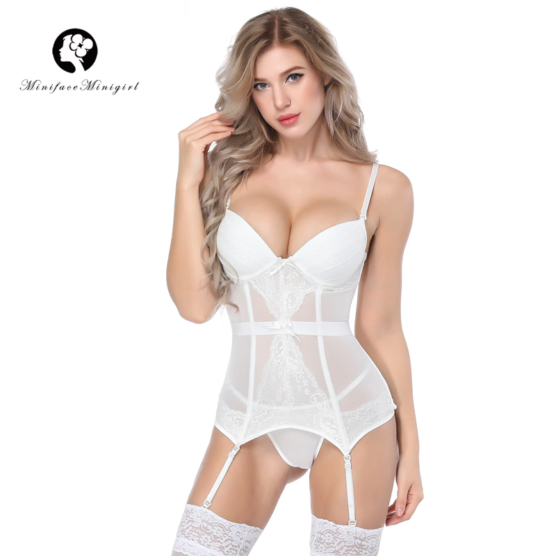 Minifaceminigirl White Lace Corsets And Bustiers Women Sexy Overbust Lace Up Top Femme Corset Lingerie Push Up Bustier Plus size