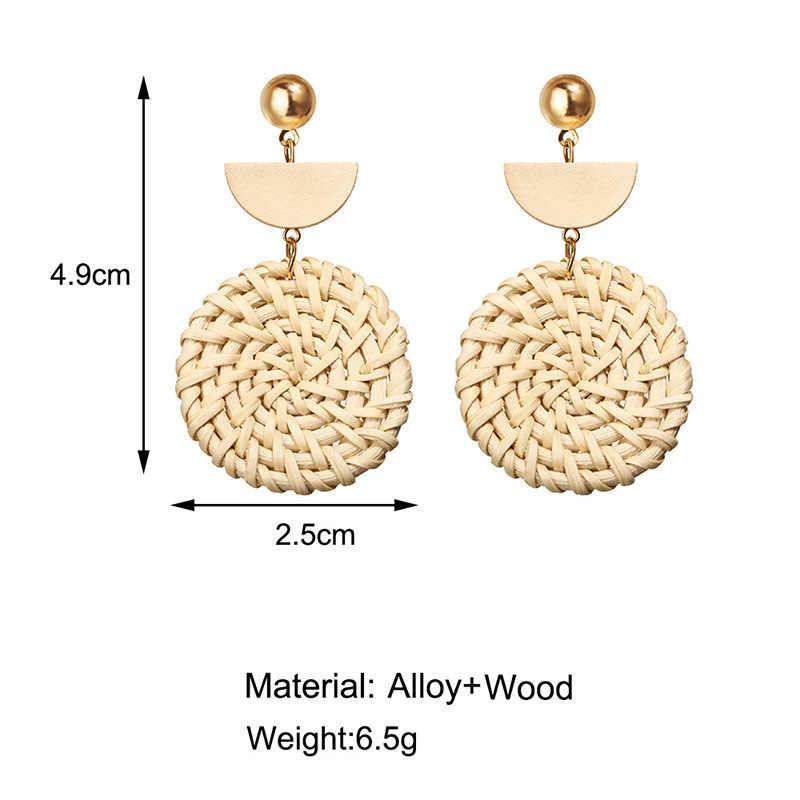 Meiruby большие Ротанговые уникальные серьги 2019 круглые геометрические серьги для женщин модные подарки ювелирные изделия